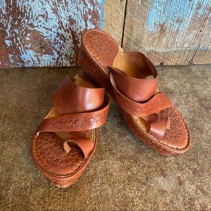 Born Brown Stamped Leather Wedge Sandal